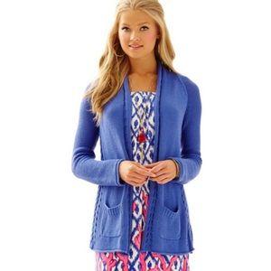 BOGO! Lilly Pulitzer Leah Cotton Open Front Cardigan Periwinkle Blue
